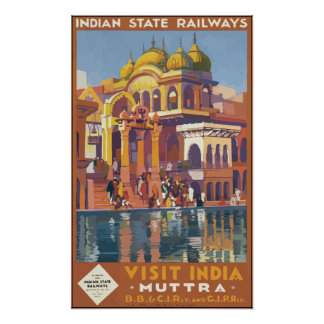 Indian State Railways Visit India , Vintage Poster