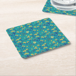 Indian style, boho chic, blue pattern square paper coaster