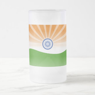 """Indian"" sun Frosted Glass Beer Mug"