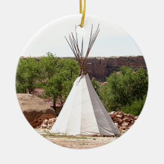 Indian teepee, pioneer village, Utah Ceramic Ornament