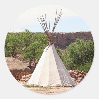 Indian teepee, pioneer village, Utah Classic Round Sticker