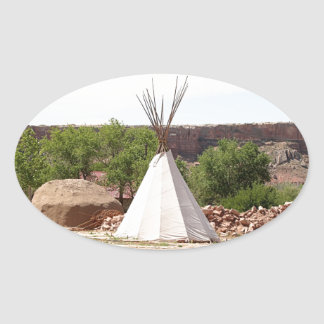 Indian teepee, pioneer village, Utah Oval Sticker