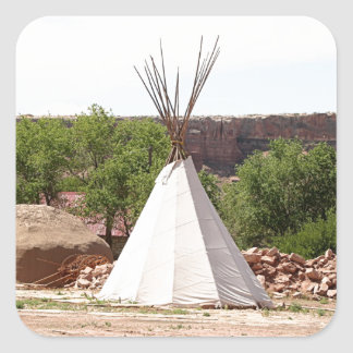 Indian teepee, pioneer village, Utah Square Sticker