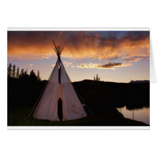 Indian Teepee Sunset  landscape Card