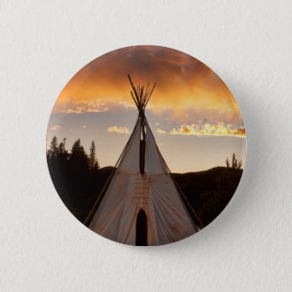 Indian Teepee Sunset vertical image 2 Inch Round Button