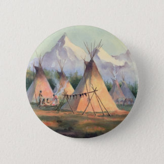 INDIAN TIPI CAMP by SHARON SHARPE 2 Inch Round Button