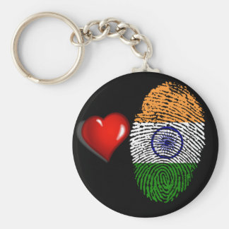 Indian touch fingerprint flag basic round button keychain