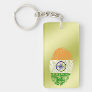Indian touch fingerprint flag Double-Sided rectangular acrylic keychain