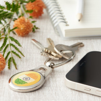 Indian touch fingerprint flag Silver-Colored oval keychain