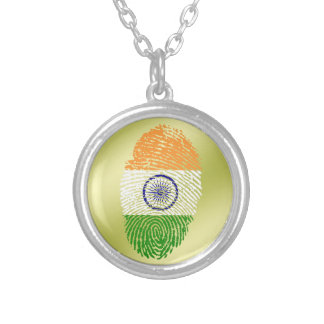 Indian touch fingerprint flag silver plated necklace