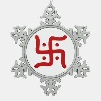 indian traditional hindu swastika symbol religion snowflake pewter christmas ornament