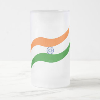 Indian undulating flag frosted glass beer mug