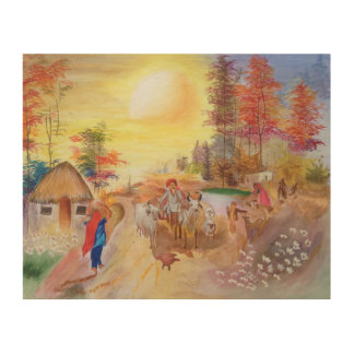 Indian village mornings wood print
