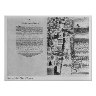 Indian Village of Secoton Print