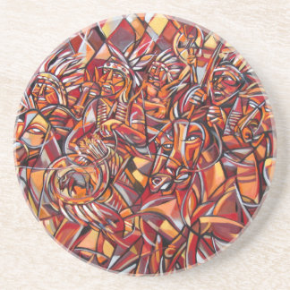 Indian War Party Sandstone Coaster