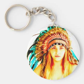 Indian warrior basic round button keychain