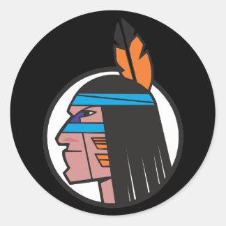 Indian Warrior Head Round Sticker