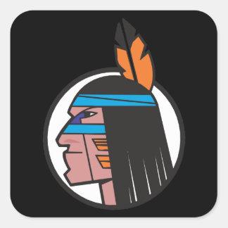 Indian Warrior Head Square Sticker