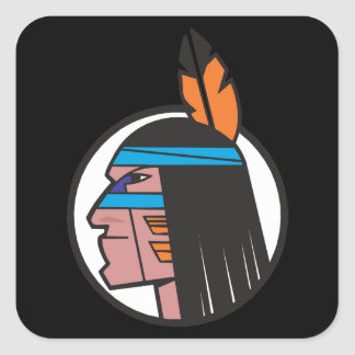 Indian Warrior Head Square Stickers