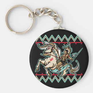 Indian Warrior on Horse Keychain