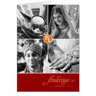 Indian Wedding 4 Photo Thank You Card