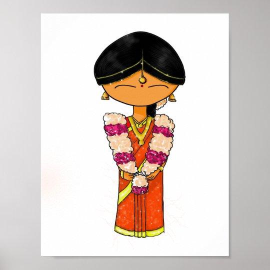 Indian Wedding Bride Floral Garland Orange Saree Poster