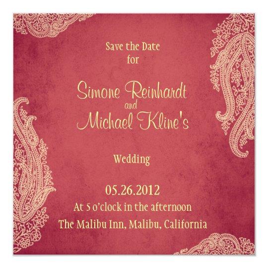 Indian Wedding Invitation, Mehndi, Red, Gold Card