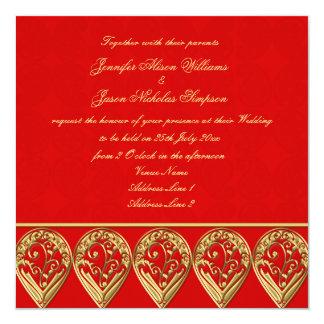 "Indian Wedding Invitation Red & Gold Paisley 5.25"" Square Invitation Card"