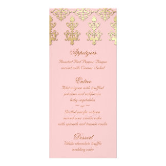 Indian Wedding Menu Cards Baby Pink Gold Damask