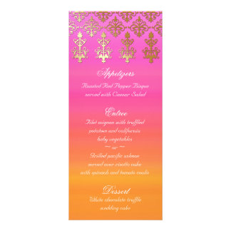 Indian Wedding Menu Cards Pink Orange Gold Damask