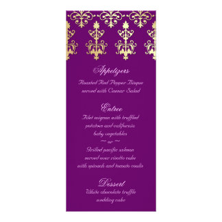 Indian Wedding Menu Cards Purple Gold Damask