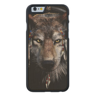 Indian wolf - gray wolf carved maple iPhone 6 case