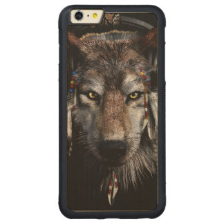 Indian wolf - gray wolf carved maple iPhone 6 plus bumper case