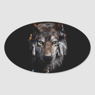 Indian wolf - gray wolf oval sticker