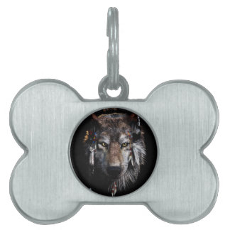 Indian wolf - gray wolf pet name tag