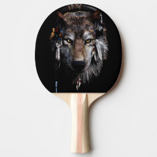 Indian wolf - gray wolf ping pong paddle