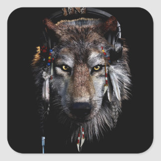 Indian wolf - gray wolf square sticker