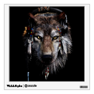 Indian wolf - gray wolf wall decal