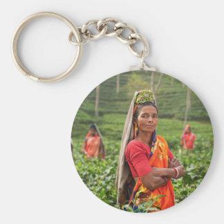 Indian Womens Basic Round Button Keychain