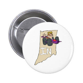 Indiana IN Map with funny Indy Race Car Cartoon 2 Inch Round Button