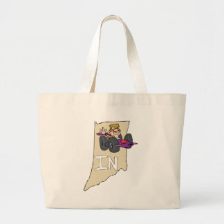 Indiana IN Map with funny Indy Race Car Cartoon Canvas Bag