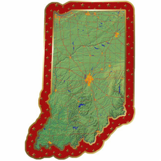 Indiana Map Christmas Ornament Cut Out