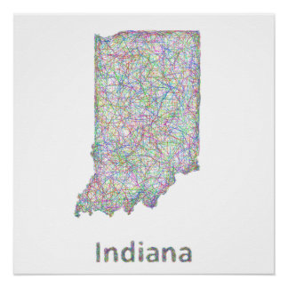 Indiana map poster