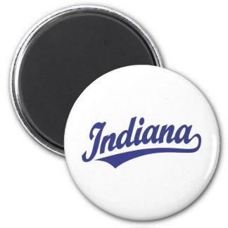 Indiana script logo in blue magnet