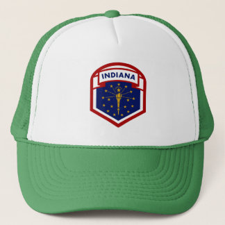 Indiana State Flag Coat Of Arms Style Trucker Hat