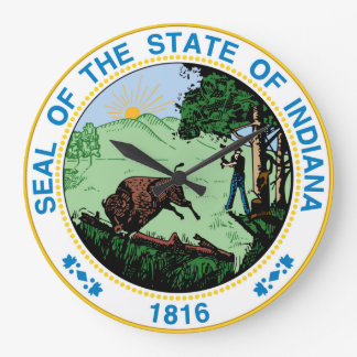 Indiana state seal america republic symbol flag large clock