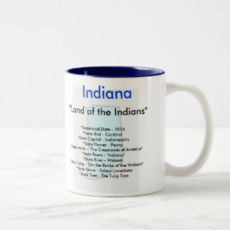 Indiana Symbols & Map Two-Tone Coffee Mug