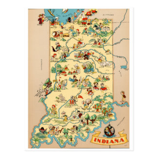 Indiana Vintage Map Postcard