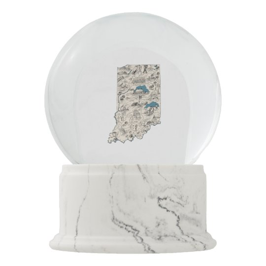 Indiana Vintage Picture Map Snow Globe