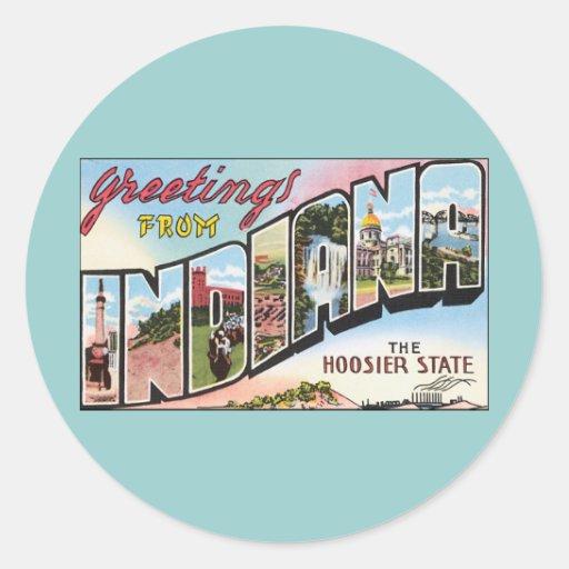Indiana -Vintage Postacard Design Round Sticker